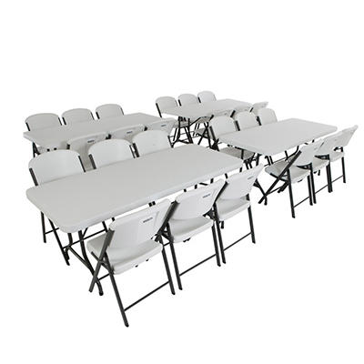 "Lifetime Combo (4) 6' Banquet Tables and (24) 18.5"" Commercial Folding Chairs, White Granite"