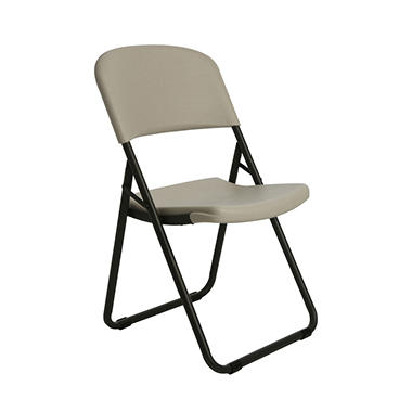 "Lifetime 20"" Loop-Leg Contoured Folding Chair - Almond - 4 pack"