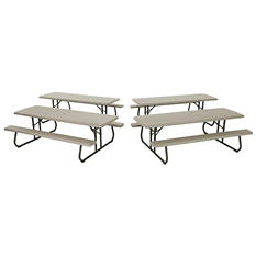 Lifetime 8' Folding Picnic Table - Putty - 4 pack