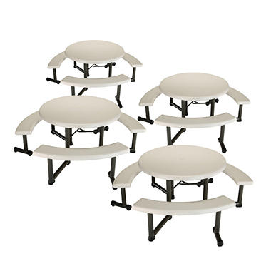 "Lifetime 44"" Round Picnic Table with Swing-Out Benches - Almond - 4 Pk"