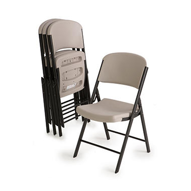 Lifetime Commercial Grade Contoured Folding Chair, Putty - 4 pack