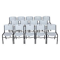 Lifetime White Stacking Chairs, Gray Frame - 14 pack