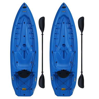 Lifetime® 8' Adult Kayak Boat with Paddle & Backrest - Blue - 2 pk.