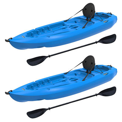 Lifetime® 8' Adult Kayak Boat with Paddle & Backrest - Blue - 2 pk.