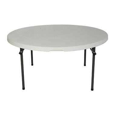 Lifetime 5' Commercial Grade Round Nesting Table - White Granite