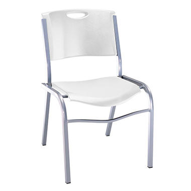 OFFLINE Lifetime Stacking Chair, White - 4 pack