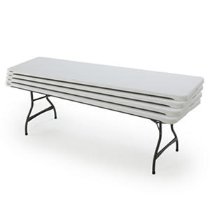 Lifetime 8' Commercial Grade Folding Table, White Granite (Select Quantity)
