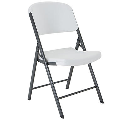 Lifetime Commercial Contoured Folding Chair - White Granite