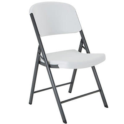 Lifetime Commercial Contoured Folding Chair, White Granite