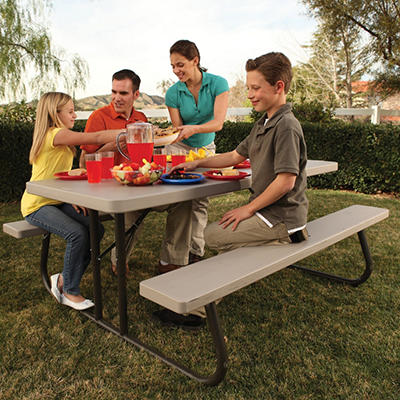 Lifetime 6' Single Folding Picnic Table - White Granite