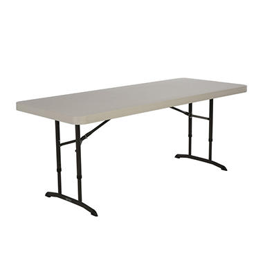Lifetime 6' Adjustable Height Commercial Grade Folding Table, Almond (Select Quantity)