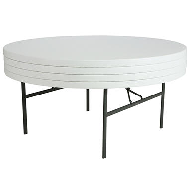 Lifetime 6' Round Folding Table - White Granite - 4 pack