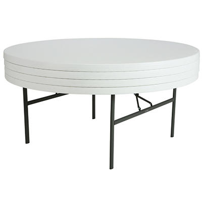 "Lifetime 72"" Round Folding Table, White Granite - 4 pack"