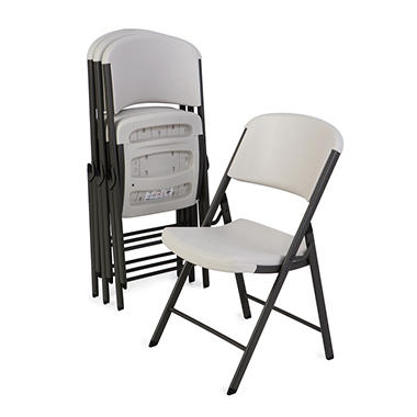 Lifetime Commercial Folding Chair - White Granite - 4 pack