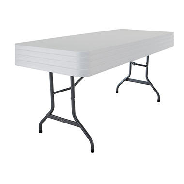 Lifetime 6' Commercial Grade Stacking Folding Table, White Granite (Select Quantity)