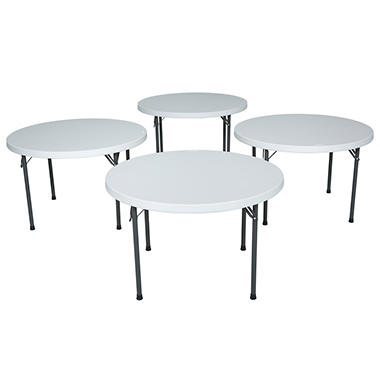 "Lifetime 46"" Round Folding Table - Almond - 4 pack"