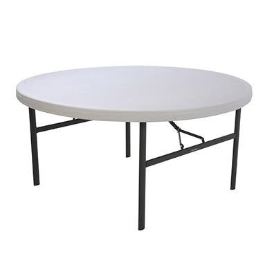 Lifetime 5' Round Folding Table - White Granite - 4 pack