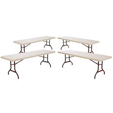 Lifetime 8' Commercial Grade Folding Table, Almond (Select Quantity)
