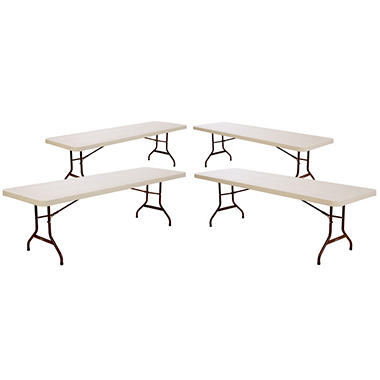 Lifetime 8' Commercial Grade Folding Table, Almond - 4 pack