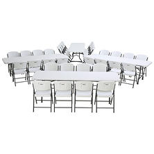 Lifetime Combo-Four 8' Commercial Grade Nesting Folding Tables and 32 Folding Chairs, White Granite