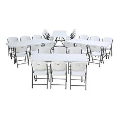 Lifetime Combo-Four 6' Commercial Grade Folding Tables and 24 Folding Chairs, White Granite