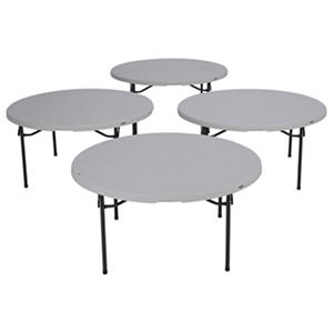 "Lifetime 60"" Round Commercial Grade Folding Table, White Granite (Select Quantity)"