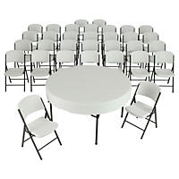 "Lifetime Combo-Four 60"" Round Commercial Grade Folding Tables and 32 Folding Chairs, White Granite"
