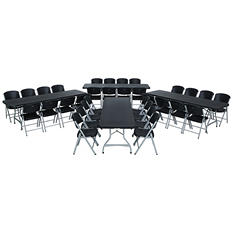 Lifetime Combo-Four 8' Commercial Grade Folding Tables and 32 Folding Chairs, Black