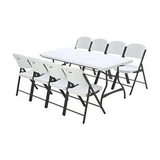 Lifetime Combo-1 Banquet 6' Commercial Table and 8 Folding Chairs, White Granite