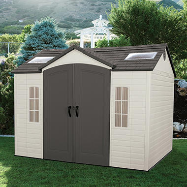 Lifetime 10 39 8 39 outdoor storage shed installation for Garden shed installation