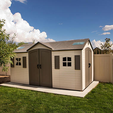 Lifetime 15 39 x 8 39 dual entry outdoor storage shed for Garden shed installation