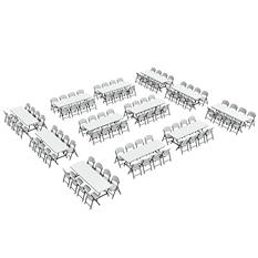Lifetime Super Combo-Twelve 8' Commercial Grade Folding Tables and 96 Folding Chairs, White Granite