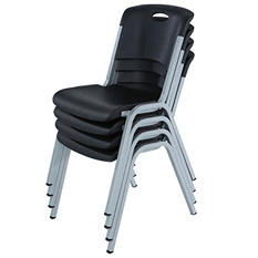 Lifetime Contoured Stacking Chairs, Black -  4 pack