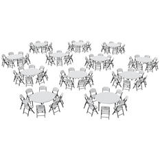 "Lifetime Super Combo-Twelve 60"" Round Commercial Grade Folding  Tables and 96 Folding Chairs, White Granite"