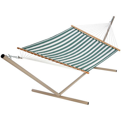 Green/White Stripe Quilted Hammock