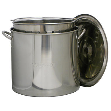 King Kooker Stainless Steel 32 qt. Pot with Basket and Lid