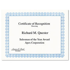 Geographics - Parchment Paper Certificates, 8-1/2 x 11, Blue Conventional Border -  50/Pack