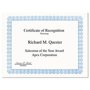 Geographics - Parchment Paper Certificates, 8-1/2 x 11, Blue Conventional Border -  50/Pack