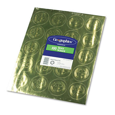 "Geographics - Gold Foil Embossed ""Official Seal of Excellence"" Seals, 100 Pack"
