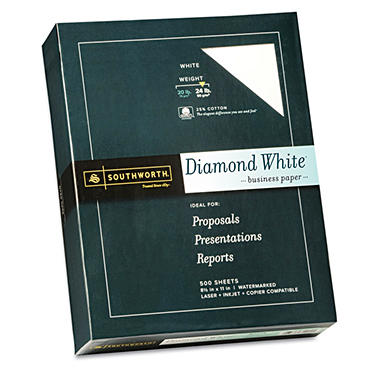 Southworth - Diamond White Fine Paper, 24lb, White - Ream