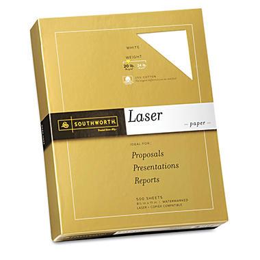 Southworth - Fine Laser Paper, 20lb, White - Ream