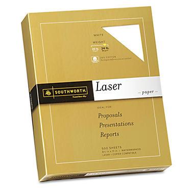 Southworth - Fine Laser Paper, 24lb, White - Ream