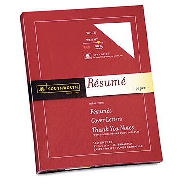 Southworth - 100% Cotton Résumé Paper, 32lb, White - 100 Sheets