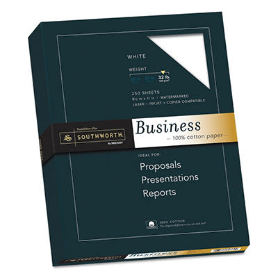 Southworth - 100% Cotton Fine Business Paper, 32lb, White or Ivory - 250 Sheets