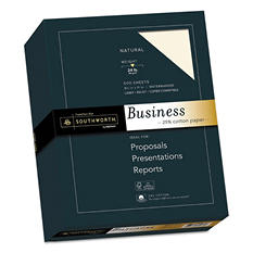 Southworth - 25% Cotton Business Paper, Natural, 24 lbs., Wove, 8-1/2 x 11,  500/Box -  FSC