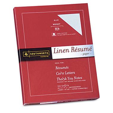 Southworth - 100% Cotton Linen Résumé Paper, 32lb, Blue - 100 Sheets