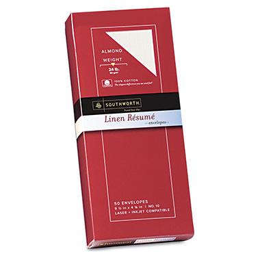 Southworth - 100% Cotton Linen #10 Résumé Envelopes - Almond - 50 Count