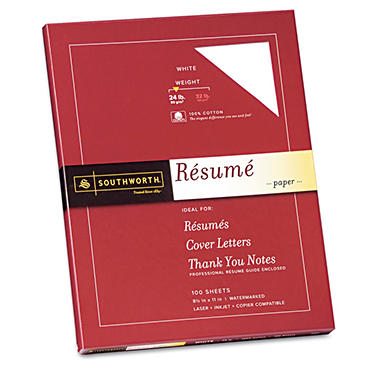 Southworth - 100% Cotton Résumé Paper, 24lb, Ivory or White - 100 Sheets