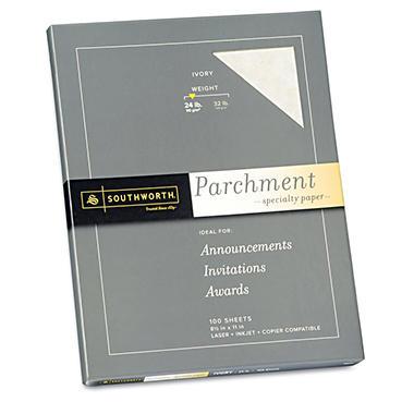 Southworth - Fine Parchment Paper, 24lb, Ivory - 100 Sheets