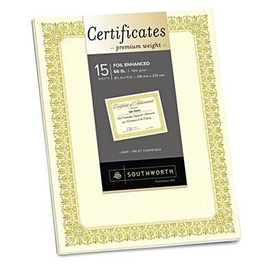 Southworth - Premium Certificates, Ivory , Fleur Gold Foil Border, 66 lb., 8.5 x 11 -  15/Pack